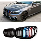 SNA E90 Grill for 2009-2011 BMW 3 Series E90 and E91 (Double Slats M Color Kidney Grille, 2-pc Set)
