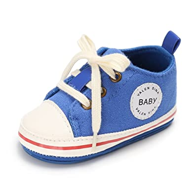 Zapatilla De Deporte Linda De La Lona Del Bebé Zapato Suave Antideslizante Zapato 0-18M (S: 0-6 meses, Deep Sea)