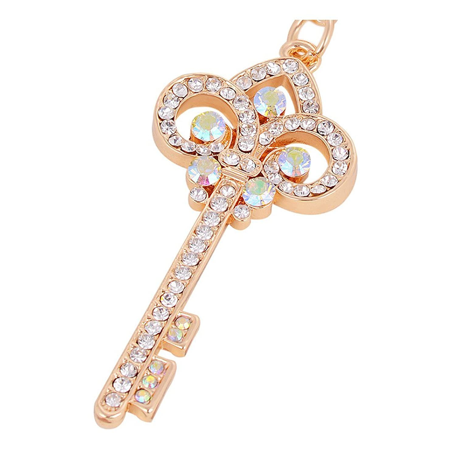 Gold Plated Key Ring Exquisite Rhinestone Keychain Bag & Car Accessory