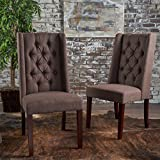 Billings Tufted Dark Brown Fabric Dining Chairs (Set of 2) For Sale