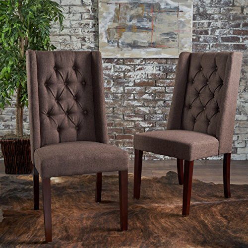 Billings Tufted Dark Brown Fabric Dining Chairs Set of 2