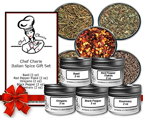 Chef Cherie's Italian Spice Gift Set-Contains 5 2 oz. Tins