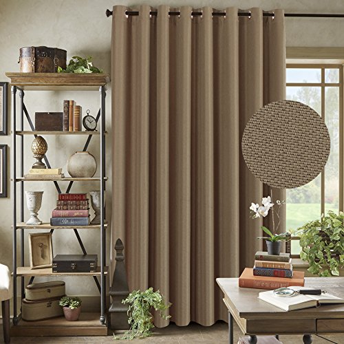 Sliding Rings - H.VERSAILTEX Thermal Insulated Solid Color Blackout Patio Curtains, Textured Rich Linen Energy Smart Ring Top Sliding Door Curtain for Large Window, 100 x 96 inch - Prairie Sand