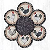 10''X10'' Tan/Black/Gray Roosters Round Trivet in a Basket - Set of 7