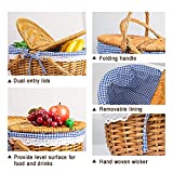 Rurality Wicker Picnic Basket with Lid and Handle
