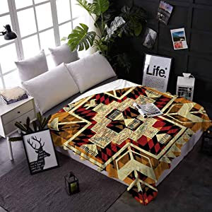 carmaxs Throw Blanket for Bed Arrow Custom Blanket for Couch Bed Sofa Native American Inspired Retro Aztec Pattern Mod Graphic Design Boho Artwork 50 x 60 Inches Red Orange Yellow