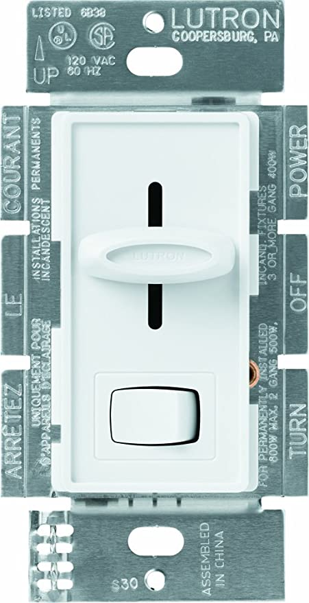 Lutron S-603P-WH Skylark 3-Way Dimmer with On/Off Switch, 600-watt ...