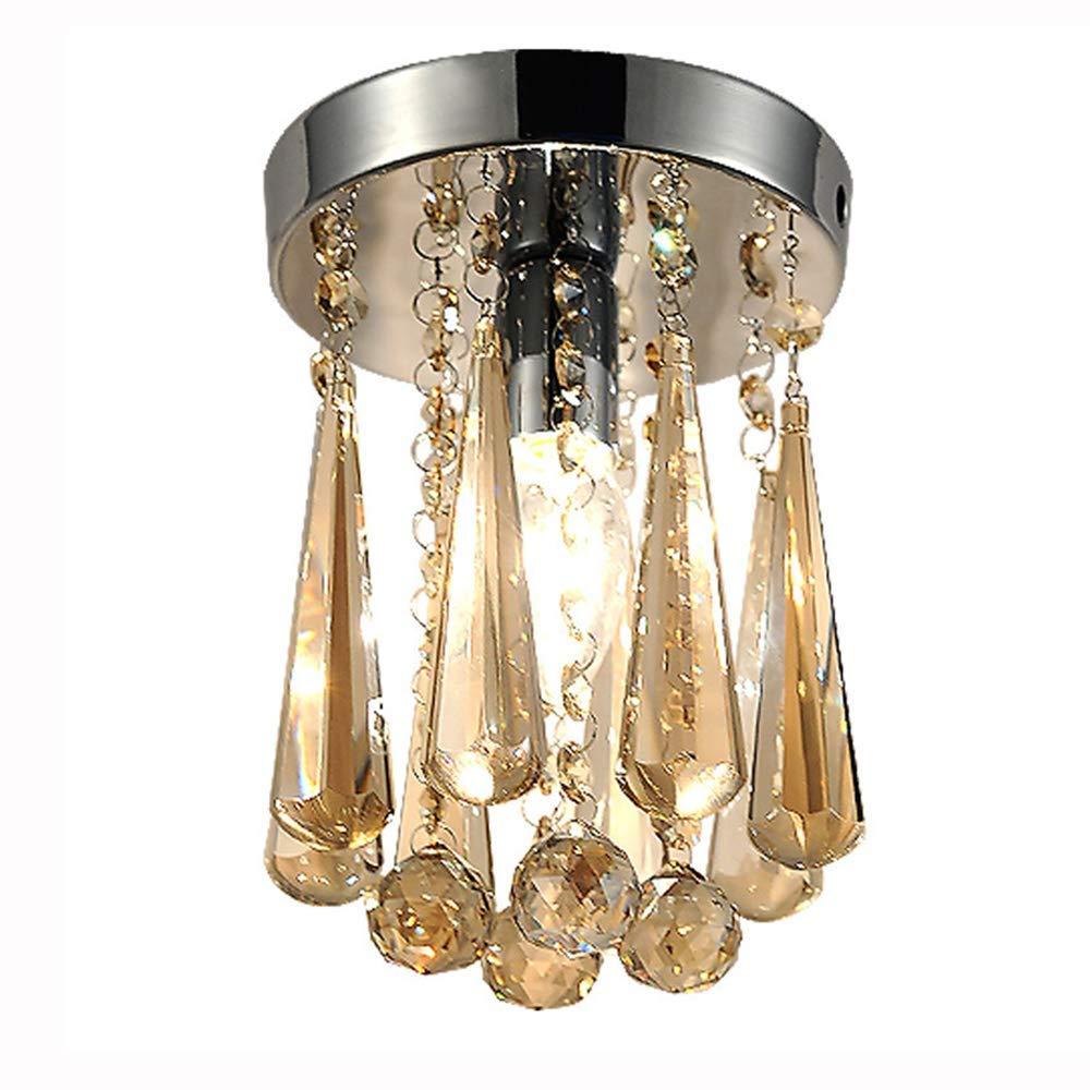 ● Europäische Art K9 Kristall Deckenleuchte Einfache Moderne LED Cognac Kristall Acht Ecke Verchromte Metall Deckenplatte Innenbeleuchtung Wohnzimmer Schlafzimmer Studie Eingang Villa Leuchte ●