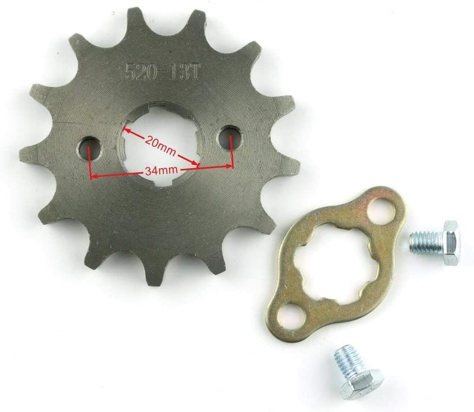 HANLING Color : 520 11T Front Engine 520# 11T 12T 13T 14T 15T Teeth 20mm Chain Sprocket With Retainer Plate Locker for Motorcycle Dirt Bike ATV