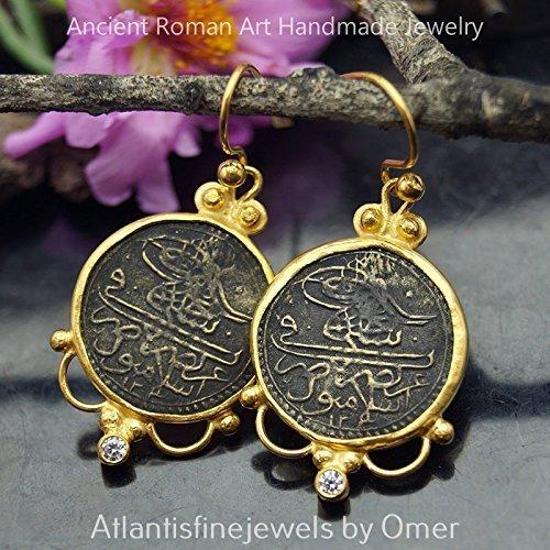 (Handmade Large Ottoman Script Coin Earrings By Omer 24k Gold Over 925 k Silver)