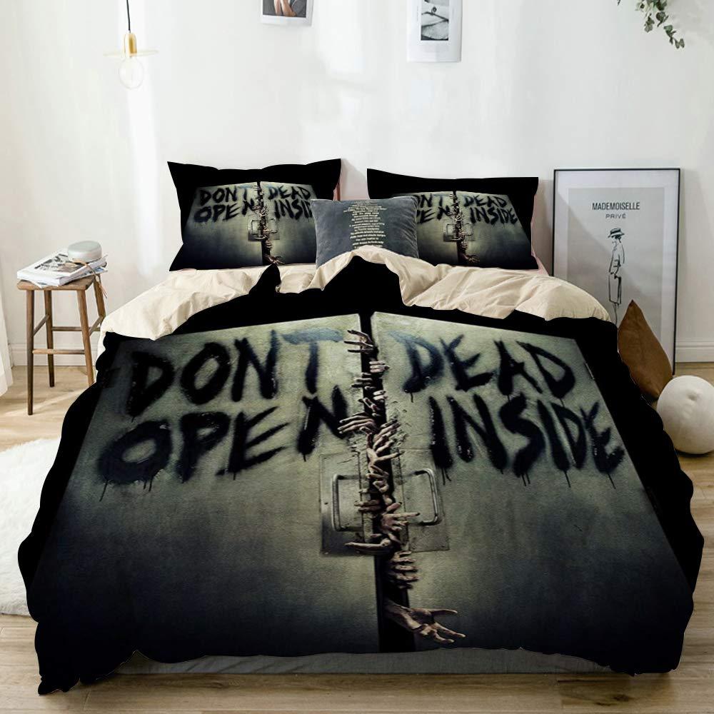 Mokale Duvet Cover Full,Zombies Terrible Hands The Walking Dead Unique,100% Washed Microfiber 3pcs Bedding Set with 2 Pillow Shams,Reversible Beige,Zipper Closure & Corner Ties