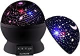 SCOPOW Baby Star Projector Night Light, Stars Night Light Projection Lamp 360 Degree Rotation 3 Lighting Mode Sky Lamp for Kids Bedroom (Black)