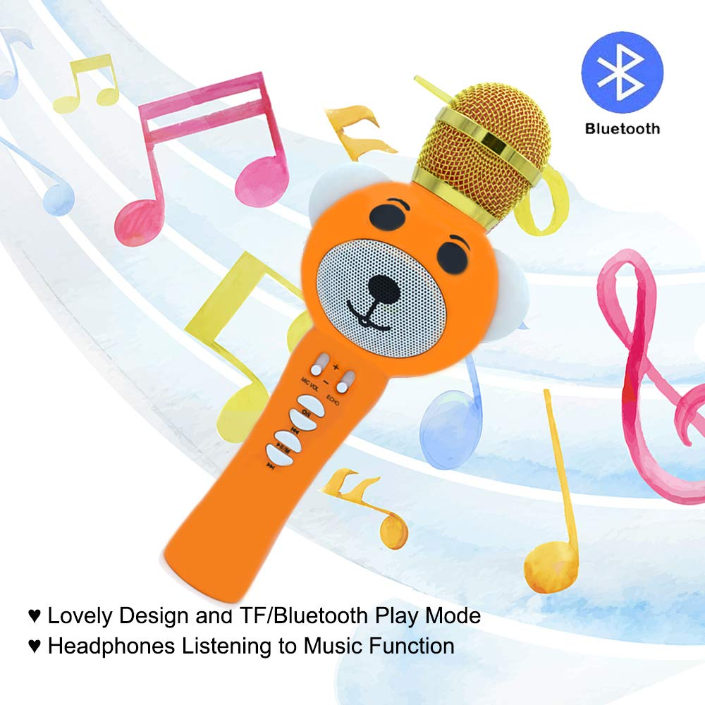 Upgraded 2019 Version Kids Karaoke Microphone with Bluetooth, Magic Voice Changer, and Flashing Multicolored LED Lights (Orange) by Garoma (Image #4)