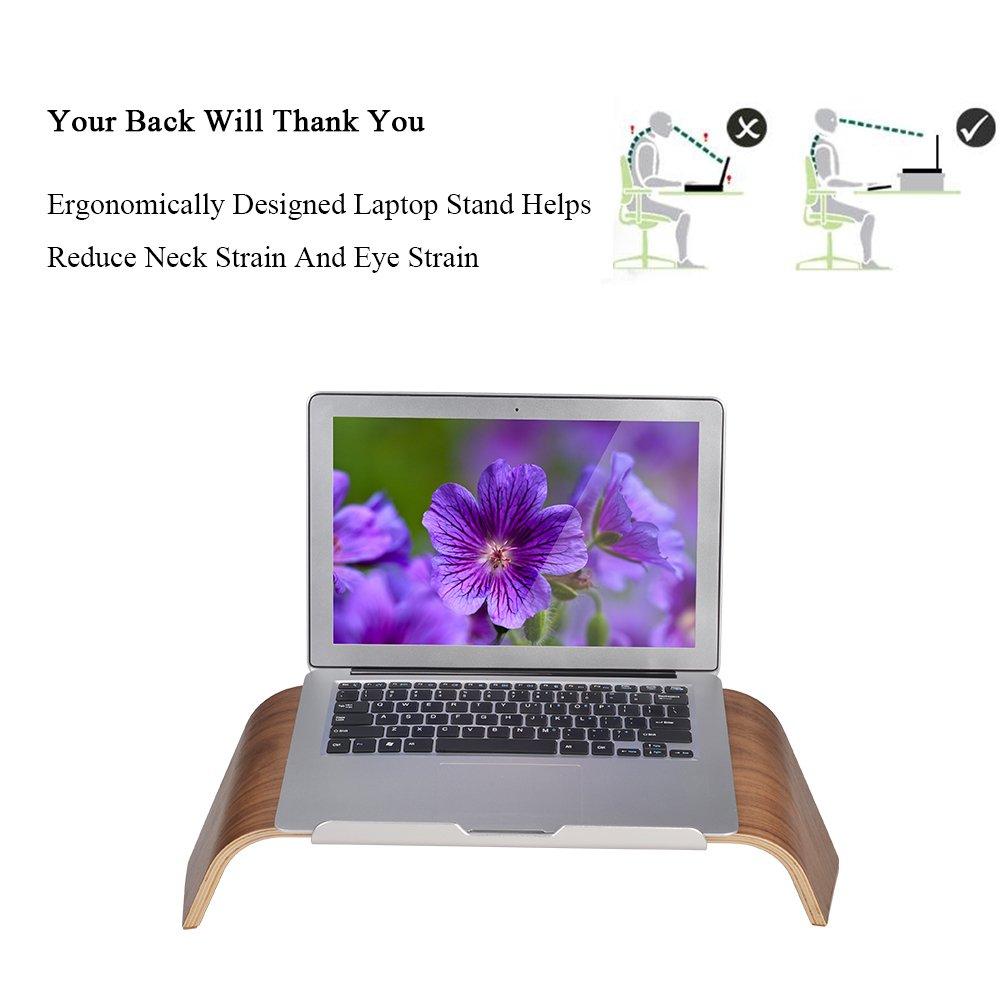 SAMDI Wood Laptop Stand, Gradient Oblique Holder Desktop Bracket Dock for Apple Air Pro, Notebook, Retina 11 12 13 15 and Other PC Notebook (Walnut) by SAMDI (Image #2)