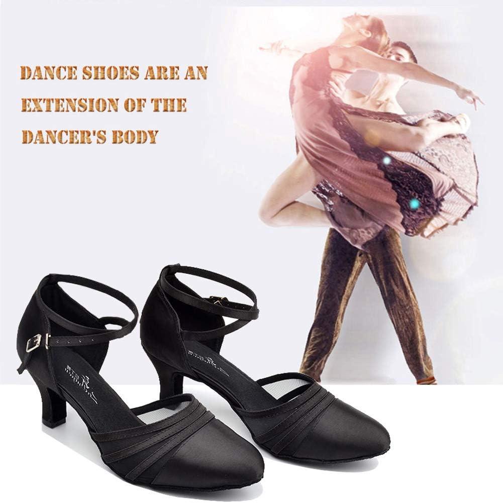 HOAPL Damen Latein Tanzschuhe Satin und Mesh Aprikose//Schwarz Damen Schuhe Ballsaal Tanz Wettbewerb Party Salsa Latin Sandalen Geschlossen Toe,Apricot 6cm,4.5