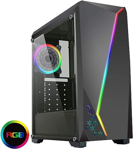 CiT 6063 ARGB - Caja para Juegos de PC, ATX, Tiras LED ARGB, Aura Sync, 1 Ventilador