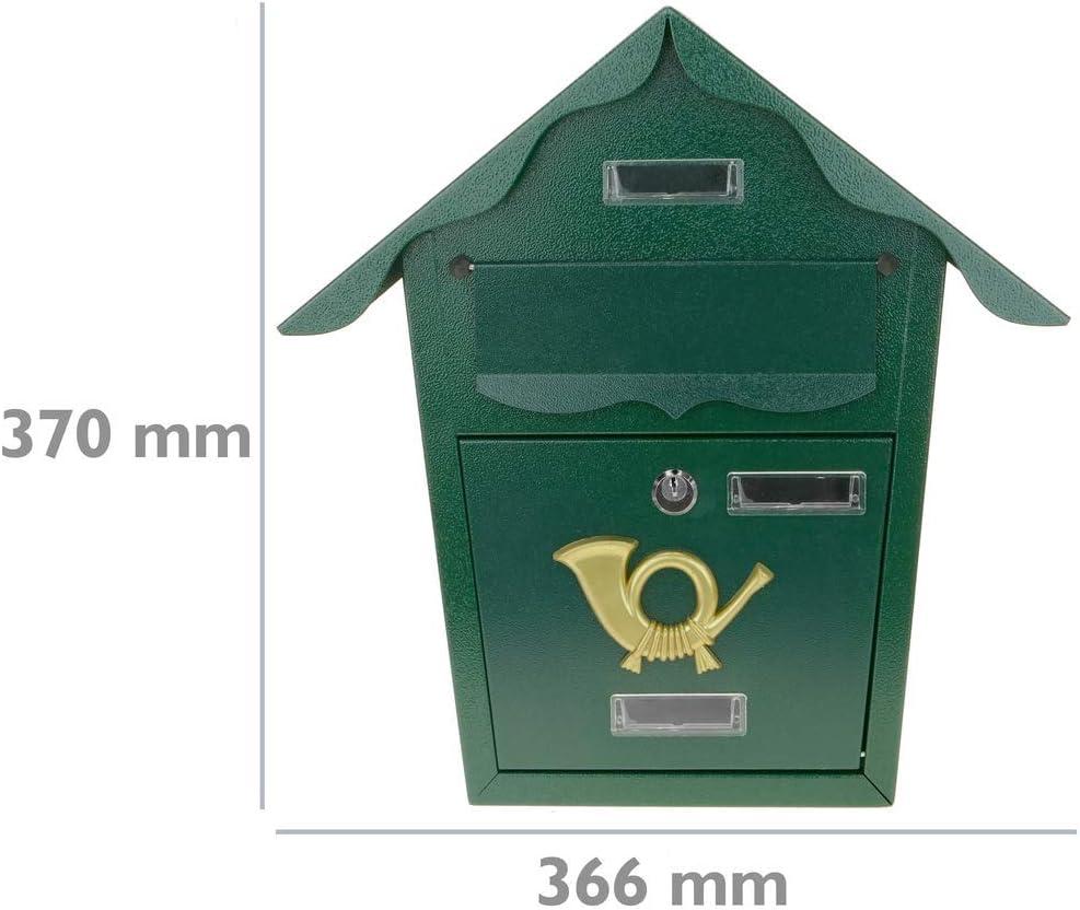 PrimeMatik Buz/ón met/álico para Cartas y Correo Postal de Color verde366 x 100 x 370 mm
