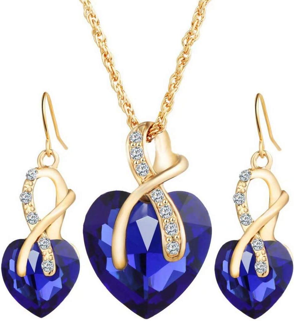Cristal De Las Mujeres De La Piedra Preciosa Brillante Cadena De La JoyeríA del Collar Pendiente del Perno(Azul)