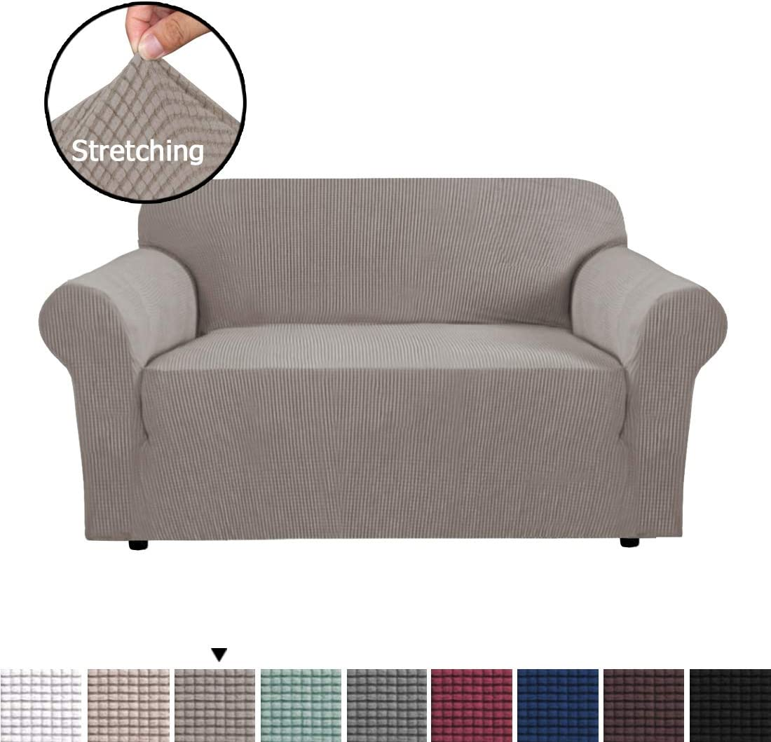 H.VERSAILTEX 1 Piece Stretching Skid Resistance Slipcover/Furniture Cover for Loveseat, Thick and Durable Soft Spandex Lycra Jacquard Sofa Cover, Easy to Put On, Taupe (2 Seater)