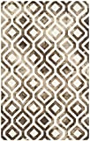 Safavieh Dip Dye Collection DDY679L Handmade Geometric Watercolor Ivory and Chocolate Wool Area Rug (4′ x 6′) For Sale