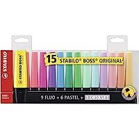STABILO 7015-01 | Caneta Marca Texto | Stabilo BOSS | 15 Cores Diferentes Fluo e Pastel