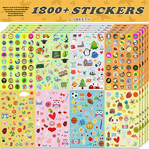 Christmas Craft Idea - Sinceroduct Christmas Stickers Assortment Set Collection for Kids, Total 1800 PCS for Craft Scrap-Booking, Great Present Idea for Children, Including Animals, Hearts, Balls, Birds,and More