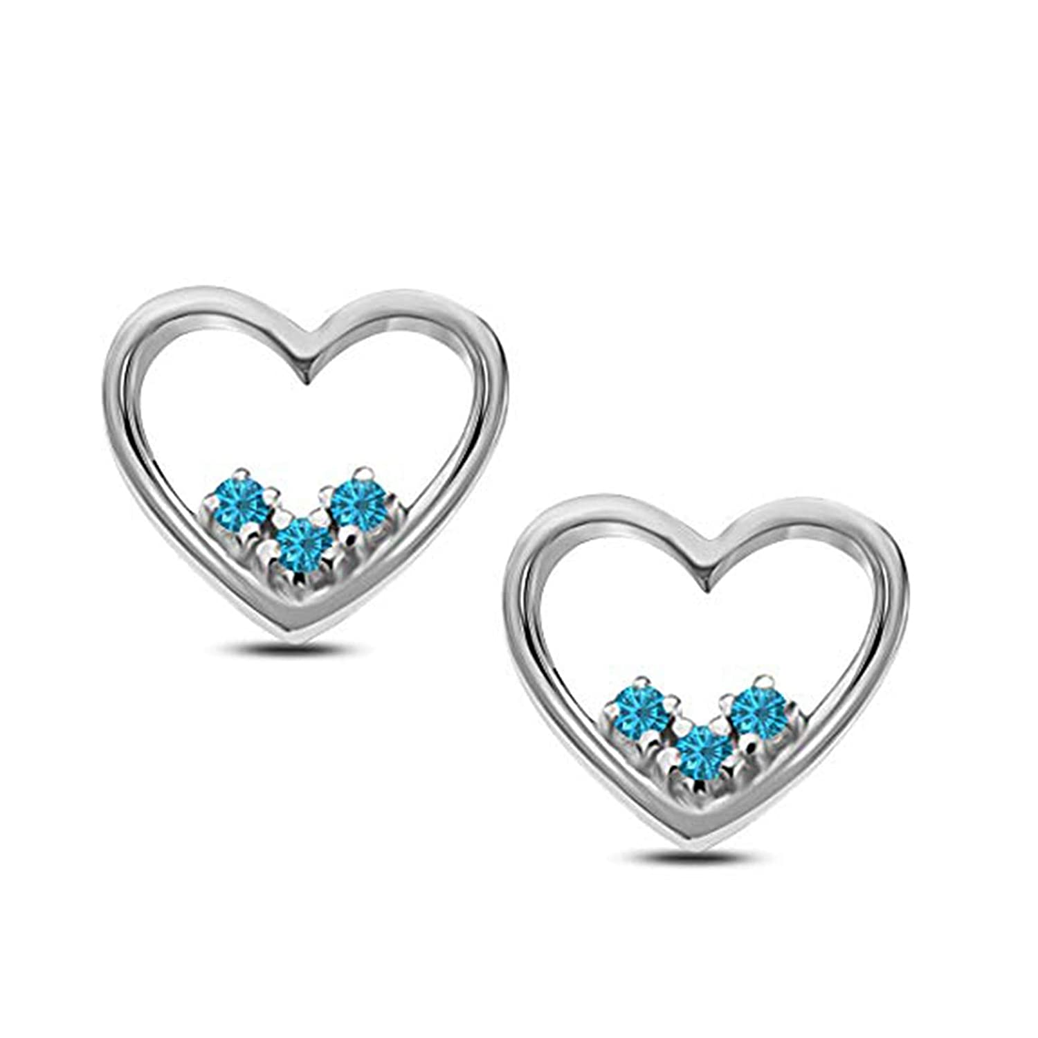 Suhana Jewellery Heart Earrings Collections 14K Gold Fn CZ Stud Earring for Girls Womens Daily Wear Jewellery