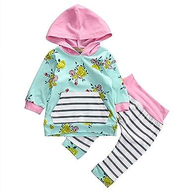 Amazon.com: Baby Girl 2pcs Set Outfit Flower Print Hoodies ...