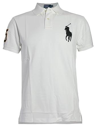 Ralph Lauren - Polo manches courtes - Custom Fit - Homme - Blanc avec Big  Pony 1aceb77cf05