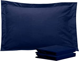 NTBAY 100% Brushed Microfiber Standard Pillow Shams Set of 2, Soft and Cozy, Wrinkle, Fade, Stain Resistant, Standard, Navy