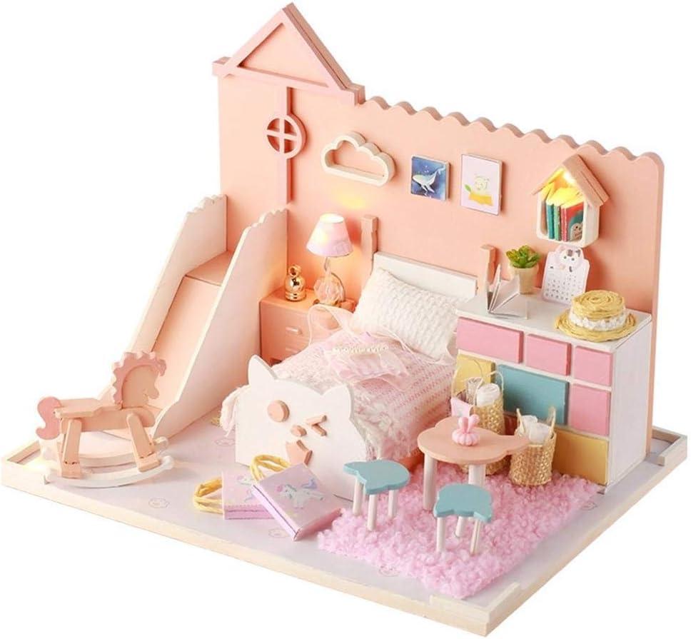 DIY Cottage Princess Room hecho a mano creativo, diseño de corazón de niña, regalo de cumpleaños (con movimiento de música y ciudad) y funda de protección, herramientas y gulue)