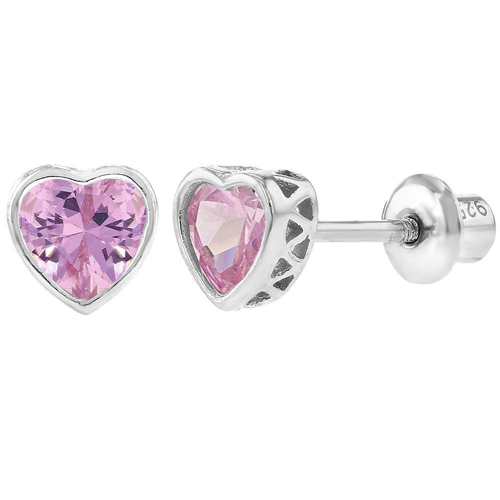 925 Sterling Silver Pink CZ Small Heart Screw Back Earrings Baby Girl Kids