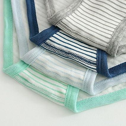 Yuntown Boys Cotton Boxer Shorts Briefs Solid Striped Underwear for 2-12Y 4 Pack