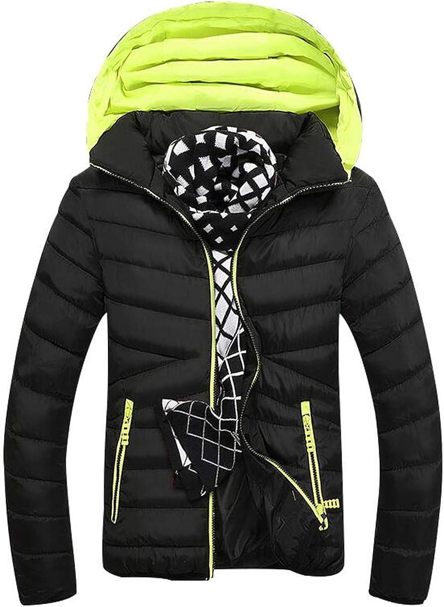 WNSY Men Winter Warm Thicken Anorak Parka Hoodie Quilted Down Parka Coat