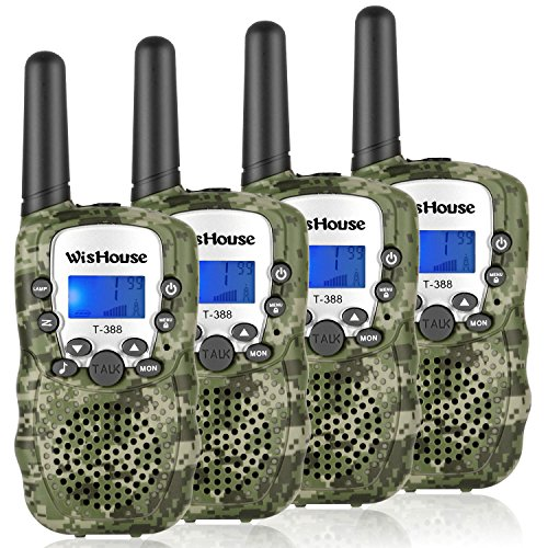 WisHouse Walkie Talkies for Kids,Popular Toys for Boys and Girls Best Handheld Woki Toki with Flashlight,License Free Kids Survival Gear for Hunting and Outdoor Adventure(T388 Camouflage 4 Pack) by Wishouse (Image #7)