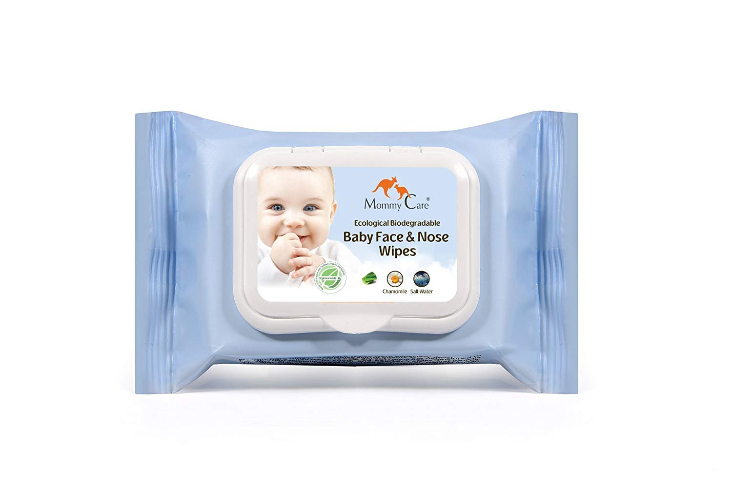 Mommy Care Biodegradable Organic Baby Face & Nose Wipes – SLS and Paraben Free Gently Fragranced Natural Cleaning Formula Perfect for Baby's Sensitive Skin. Great as Hand Sanitizer 24 count