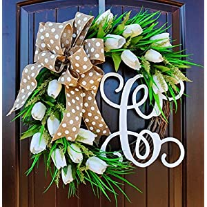 Handmade in America White Tulip Front Door Wreath with Script Monogram for Door Decor-Spring, Summer 29