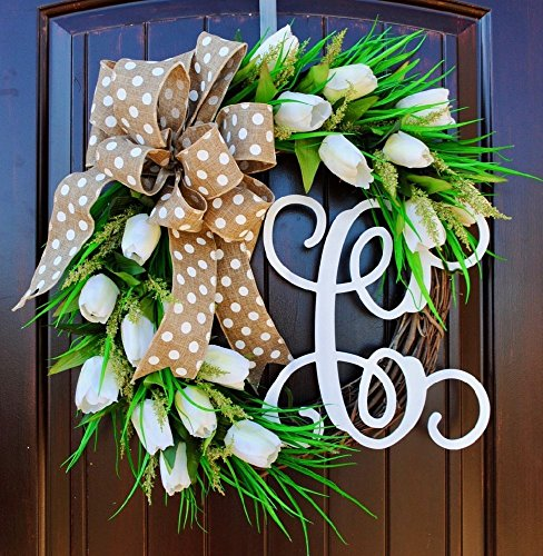 Handmade in America White Tulip Front Door Wreath with Script Monogram for Door Decor-Spring, Summer ()