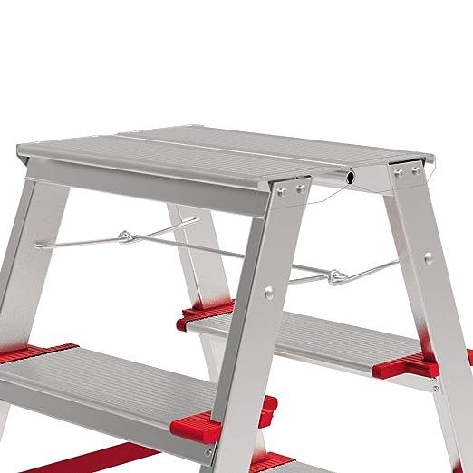 Silber BRIKS Aluminium Leiter BR2520 Zweiseitig Industrieleiter 2x2 belastbar bis 225 kg Stehleiter