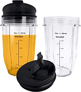 18oz Replacement Ninja Blender Cups with Lid (2 Pack) For Ninja Auto iQ BL480 BL642 BL450 BL682 BL480, BL490, BL640 BL680 Auto IQ Series Blenders