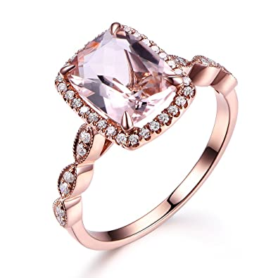 7x9mm Cushion Cut Pink Morganite Solid 14k Rose Gold Halo Engagement