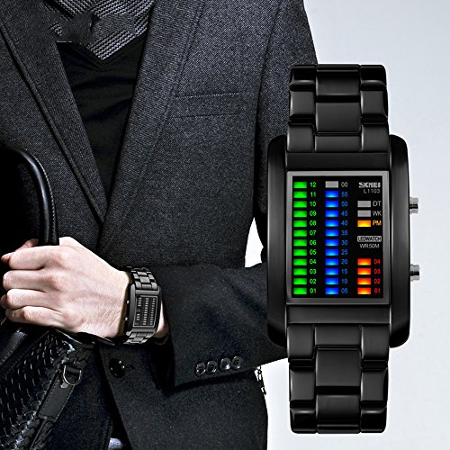 Mens Digital Watch Binary Time Led Display Waterproof Alloy Band Stopwatch Creative Sport Army Wristwatches