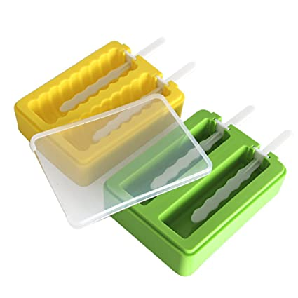Ice Pop Makers with Protective Lid Set of 2, Yellow Wavy and Green Rectangle Silicone Popsicle Molds Great Ice Cream Mold For Kids