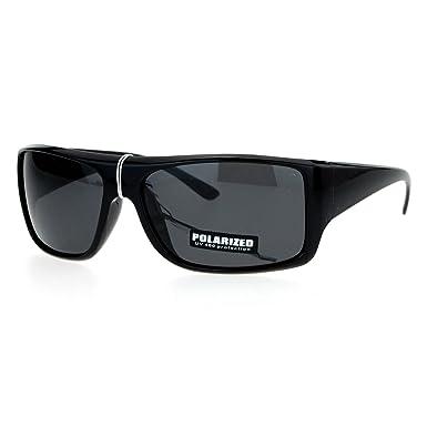 f92d8d0fb43 SA106 Polarized Lens Oversize Rectangular Thick Arm Mens Sunglasses All  Black