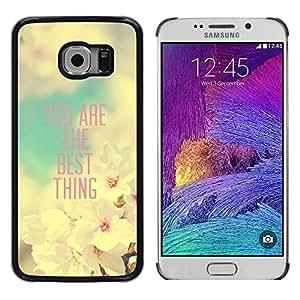 TopCaseStore / la caja del caucho duro de la cubierta de protección de la piel - Girlfriend Apple Blossom Spring Quote - Samsung Galaxy S6 EDGE SM-G925