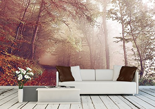 Large Wall Mural Oil Painting Style Landscape with Forest in Autumn Vinyl Wallpaper Removable Wall Decor