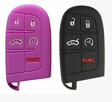 Black and Purple Silicone Keyless Remote Key Fob Case Skin Cover fit for Dodge