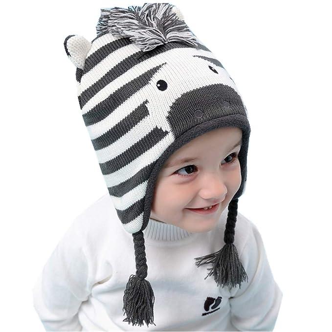 Tyidalin Sombreros Niño Infantil Bebé Invierno Orejeras Earflap Casquillos  Punto Ganchillo Animales Beanie Gorra Caliente  Amazon.es  Ropa y accesorios 090c364be07