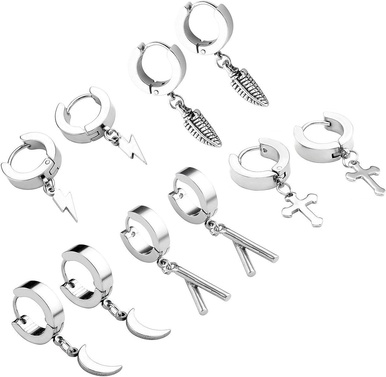 Zysta 5 Pairs Huggie Dangle Earring 18G Cute Sticks Corss Feathers Flash Moon Shape Mini Charms Stainless Steel Hoop Ear Studs