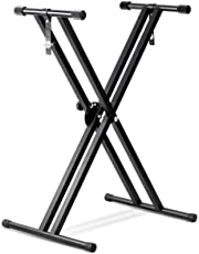 SaveOnMany ® Double-Brace X Keyboard Stand Heavy Duty Classic Music Musical Electronic Piano Stands Dual Braced with Locking Straps, Black (5 Position Folding Adjustable Height)